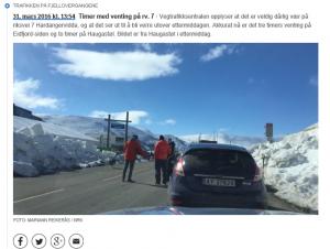 Påskekaoset på fjellovergangene skal ikke gjenta seg for nå blir Rv.7 vinterstengt. Skjermdump fra Nrk.no