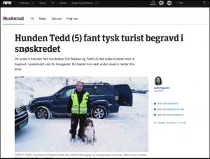 """Faksimile fra Nrk Buskerud viser helten """"Tedd"""" som er redningshunden som fant en tysk turist som ble rammet av et skred uken før konferansen gikk av stabelen."""