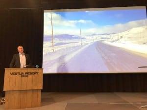 Trond Helleland presenterte enigheten om å satse på Rv.7 på Hardnagerviddakonferansen Rein Vidde på Geilo 20. mars